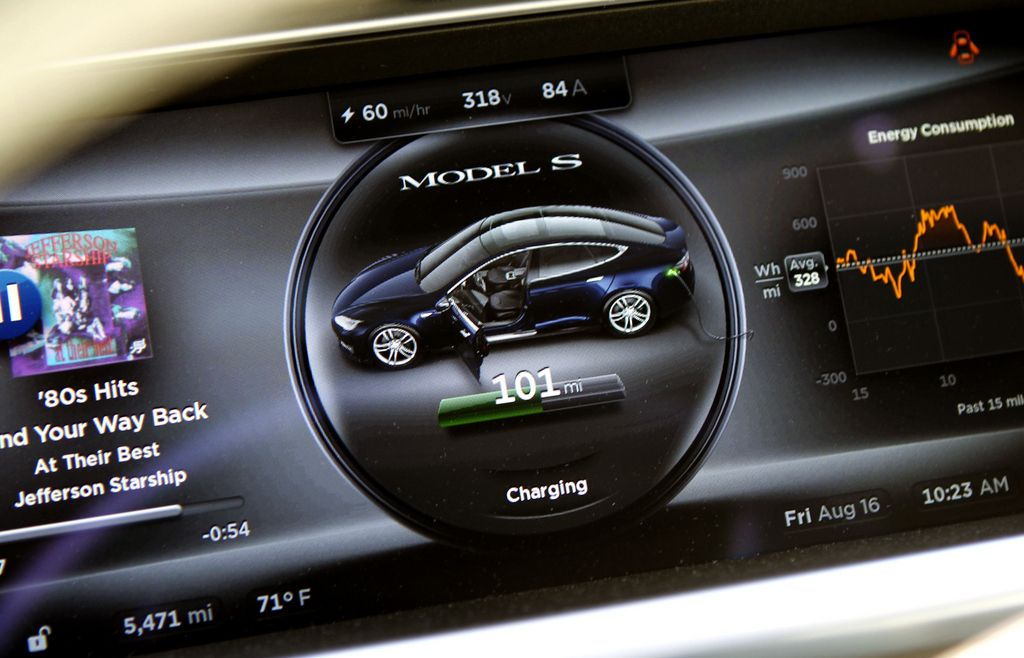 Tesla instrument panel display