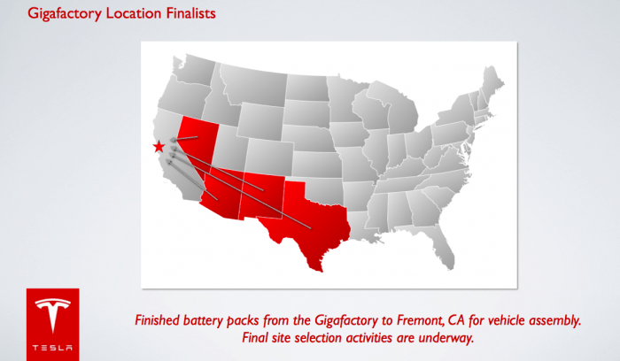 Le possibili locations della Gigafactory