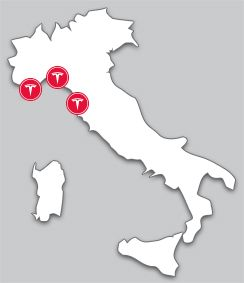 Locations in Italia del Tesla Fully Charged