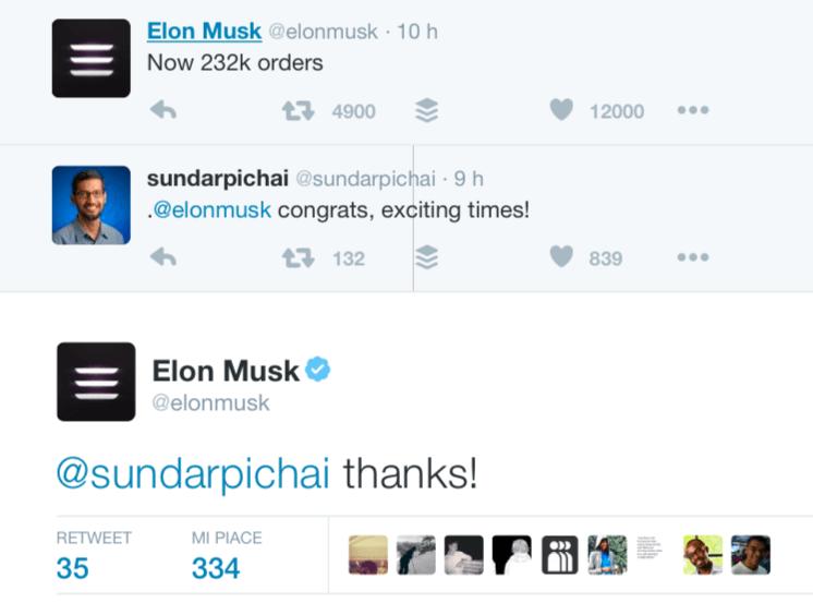Il CEO di Google si congratula con Elon Musk